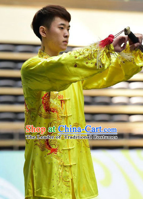 Yellow Tai Chi Swords Taiji Tai Ji Sword Martial Arts Supplies Chi Gong Qi Gong Kung Fu Kungfu Uniform Clothing Costume Suits Uniforms for Men and Boys
