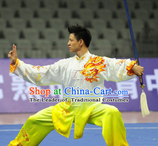 Tai Ji Quan Kung Fu Outfit Jacket Pants Supplies Custom Dance Costumes Outfits Clothing for Men Women Kids Boys Girls