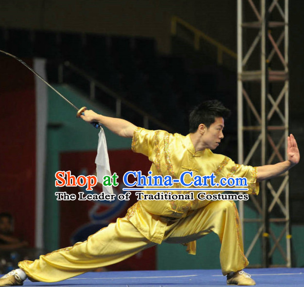 Top Tai Chi Swords Competition Outfit Taiji Contest Jacket Pants Supplies Custom Kung Fu Costume Wu Shu Clothing Martial Arts Costumes for Men Women Kids Boys Girls
