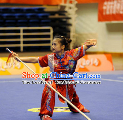 Top Wushu Long Pole Competition Suits Southern Fist Tourament Qigong Kung Fu Training Karate Clothes Shaolin Outfit Martial Arts Uniform for Men Women Girls Boys Kids Adults