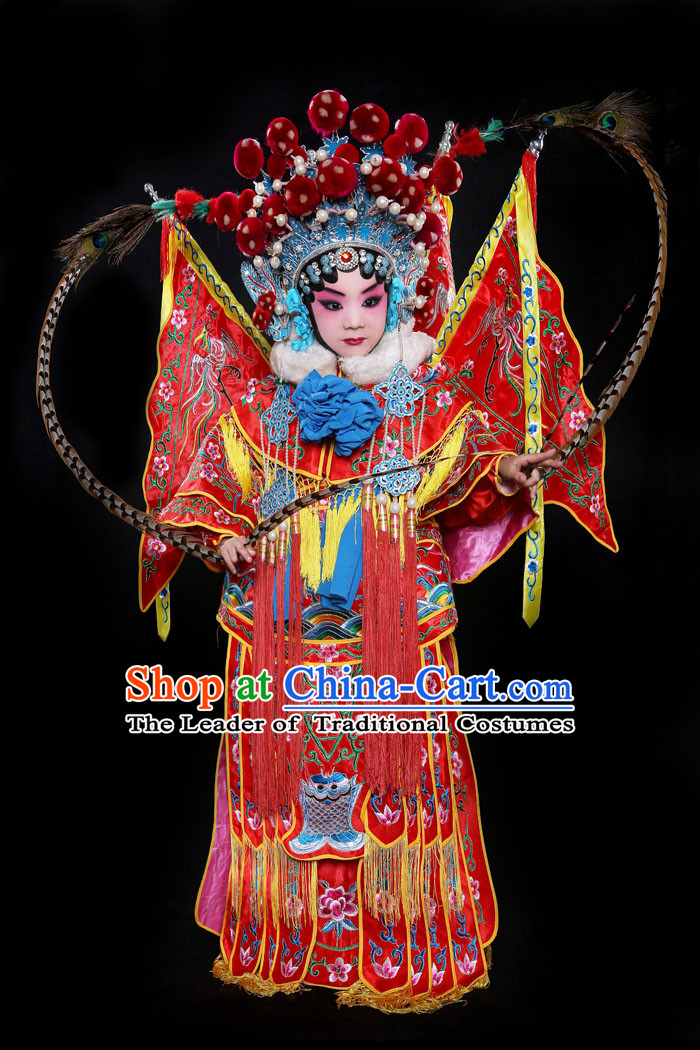Chinese Beijing Opera Costume and Helmet for Girls and Kids