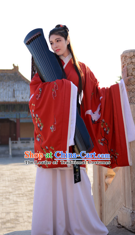 Ancient Chinese Han Dynasty Princess Queen Embroidered Cranes Clothes Garment Complete Set