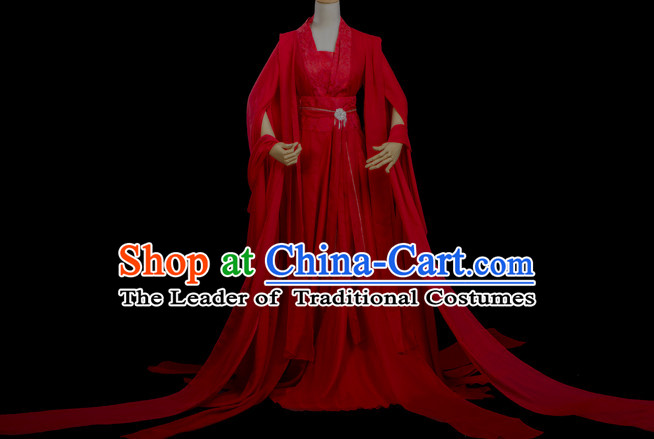 Chinese Costume Ancient China Dress Classic Garment Suits Queen Cosplay Clothes Clothing and Hair Jewelry Complete Set for Women