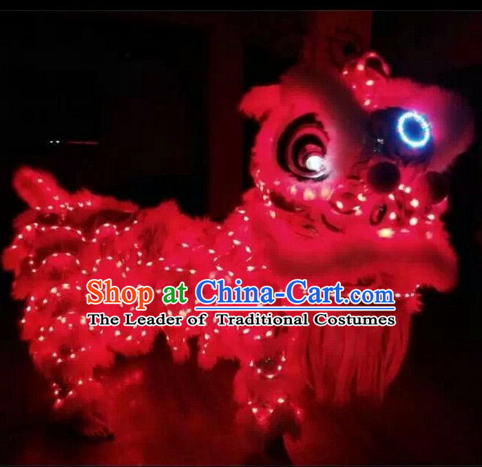 Red Top Supreme LED Lights Lion Dance Costumes Complete Set