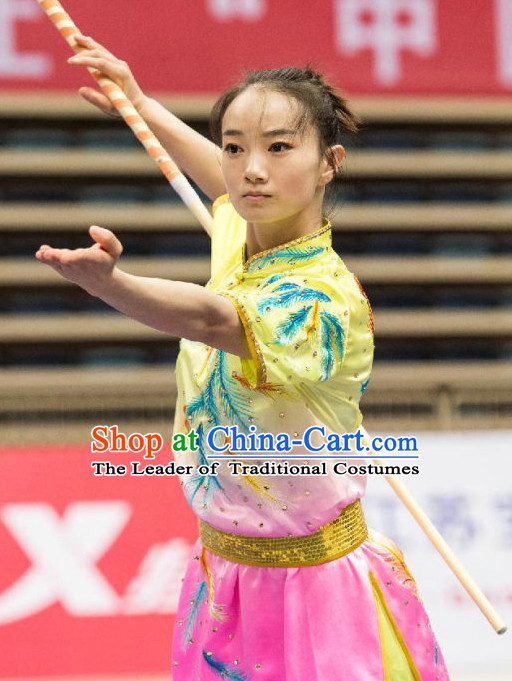 Professional Martial Arts Kung Fu Competition Uniforms Suits Outfits for Girls and Women