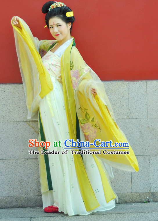 Chinese Costume Ancient Chinese Costumes Japanese Korean Asian Fashion Tang Dynasty Princess Han Fu Suits Outfits Garment Dress Clothes for Women