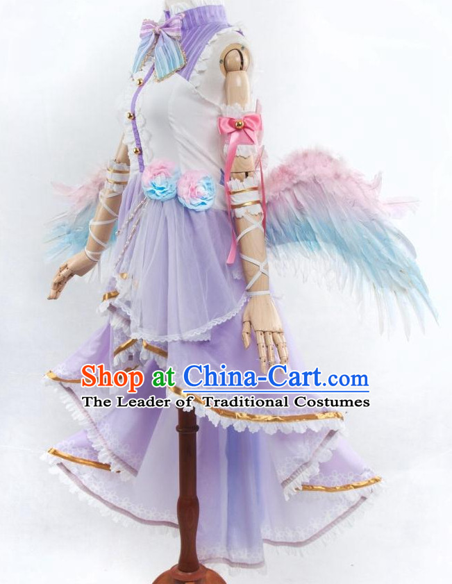 Chinese Angel Fairy Costume Ancient Chinese Costumes Japanese Korean Asian Fashion Cosplay Suits Outfits Garment Dress Clothes and Hair Jewelry for Women