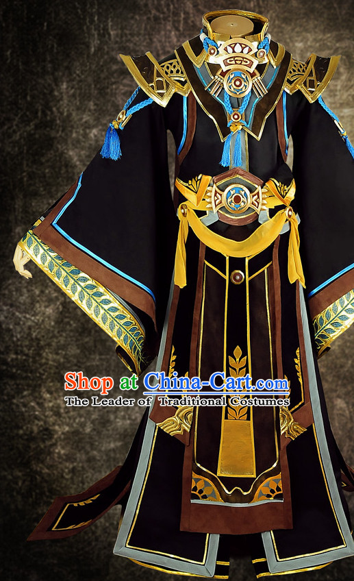 Chinese Emperor Costume Ancient Chinese Costumes Japanese Korean Asian Fashion Cosplay Suits Outfits Garment Dress Clothes and Hair Jewelry for Women
