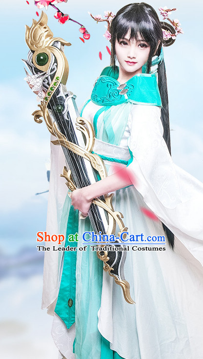 Chinese Princess Costume Ancient Chinese Costumes Japanese Korean Asian Fashion Cosplay Suits Outfits Garment Dress Clothes and Hair Jewelry for Women