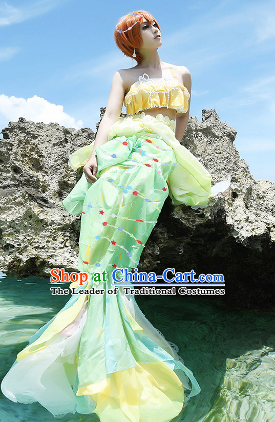 Chinese Mermaid Costume Ancient Chinese Costumes Japanese Korean Asian Fashion Cosplay Suits Outfits Garment Dress Clothes and Hair Jewelry for Women