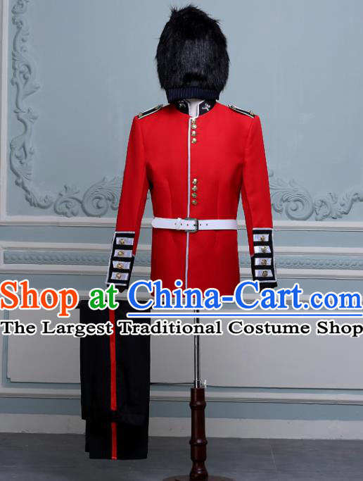 England Imperial Palace Guard Uniform Dance Costume Traditional Garment Classic Clothing and Hat Complete Set for Men