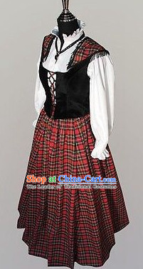 Traditional Medieval Costume Renaissance Costumes Historic Female Scottish Clothing Complete Set for Women