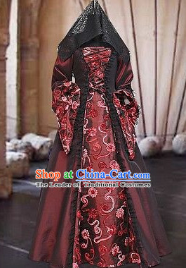 Traditional Medieval Costume Renaissance Costumes Historic Empress Queen Clothing Complete Set for Women