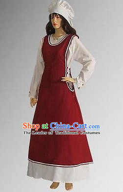 Traditional British National Costume Medieval Costume Renaissance Costumes Historic Servant Dresses Complete Set for Women