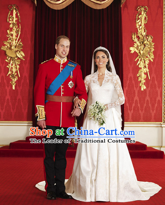Traditional Princess Kate and Prince William Wedding Dresses British National Costumes 2 Complete Set for Men and Women