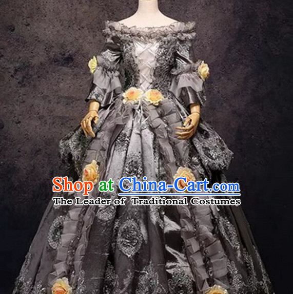 Traditional European English Buckingham Palace Princess Queen Clothing British National Costumes and Headwear Complete Set for Women and Girls