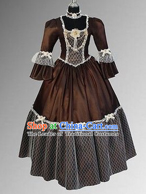 Classic Renaissance Costumes Medieval Costume Historic Queen Victoria Clothing Complete Set for Women