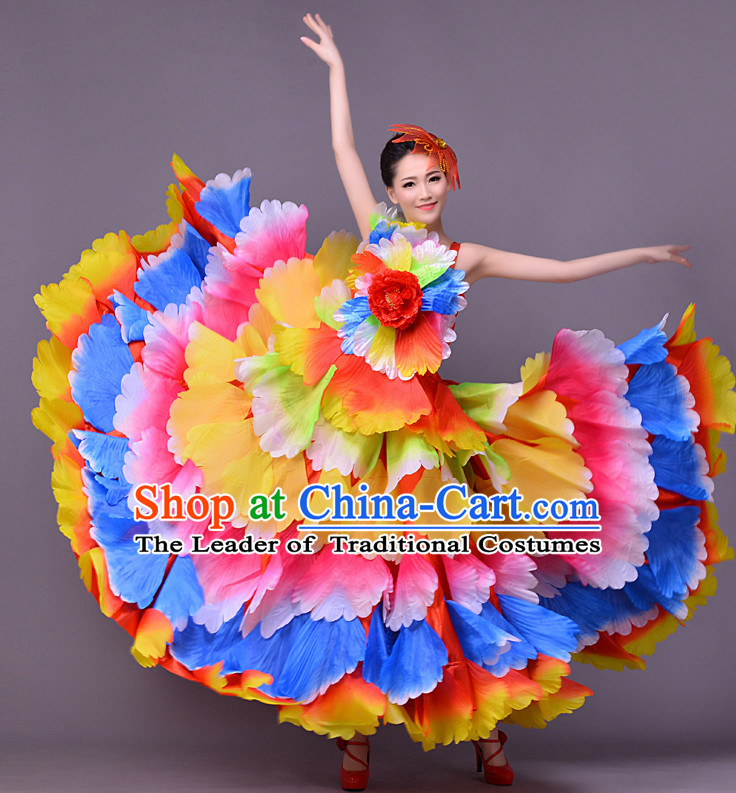 Chinese Classic Flower Dance Costume and Headwear Complete Set