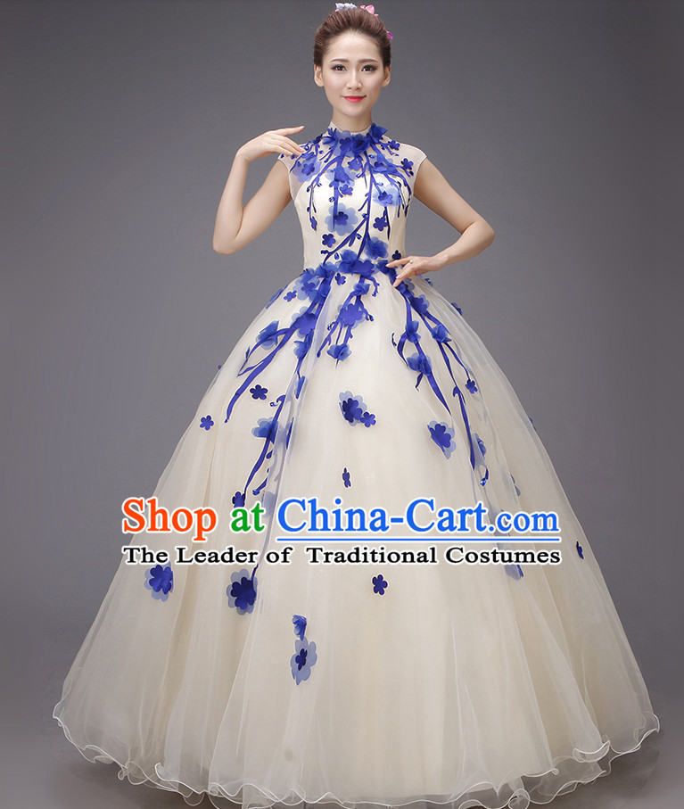 Chinese Plum Blossom Long Evening Dress Opening Dance Festival Parade Costumes and Hair Accessories Complete Set