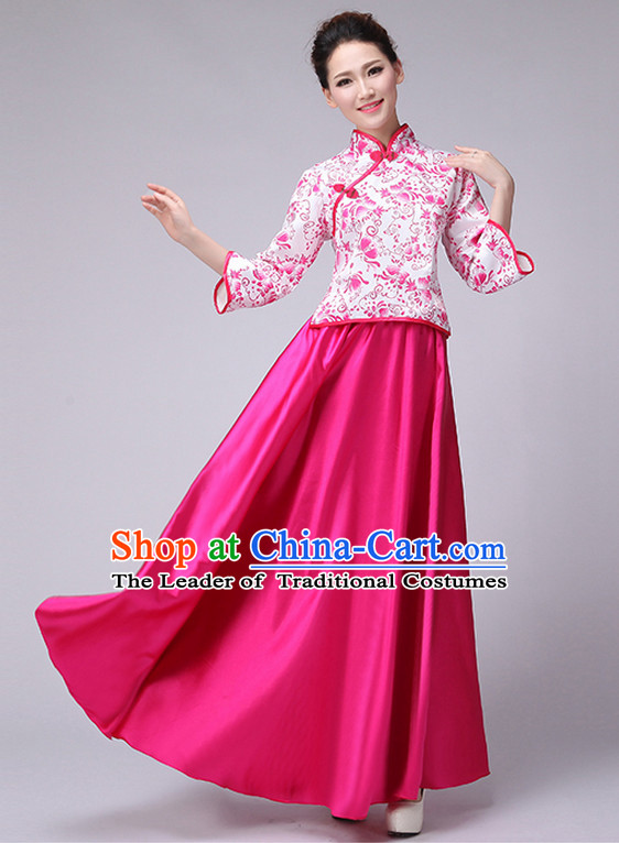Classic Chinese Minguo Style Musician Uniform Singing Choir Outfits Dancing Costume Stage Opening Dance Costume Parade Dancewear Complete Set