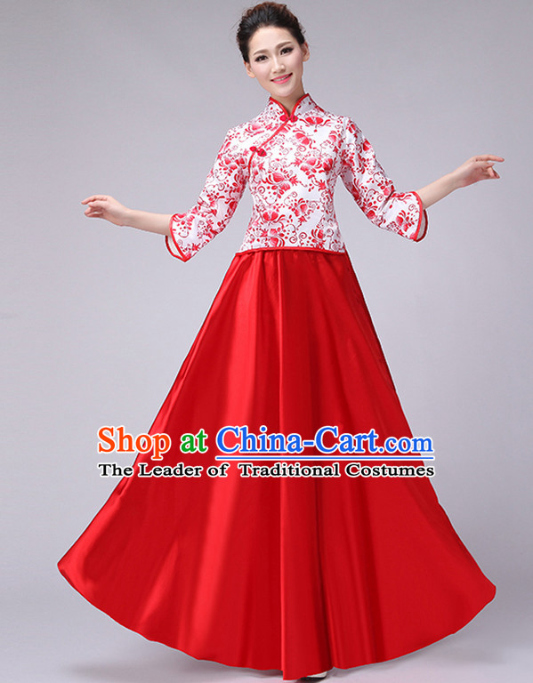 Red Chinese Minguo Style Musician Uniform Singing Choir Outfits Dancing Costume Stage Opening Dance Costume Parade Dancewear Complete Set