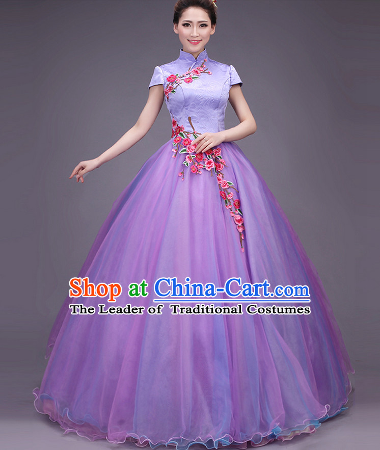 Asian Evening Dress Plum Blossom Musician Uniform Singing Choir Outfits Dancing Costume Stage Opening Dance Costume Parade Dancewear Complete Set