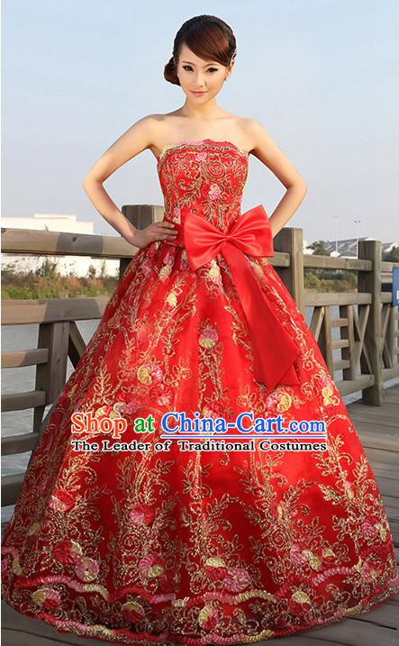 Asian Chinese Wedding Bridal Evening Dress Complete Set for Women