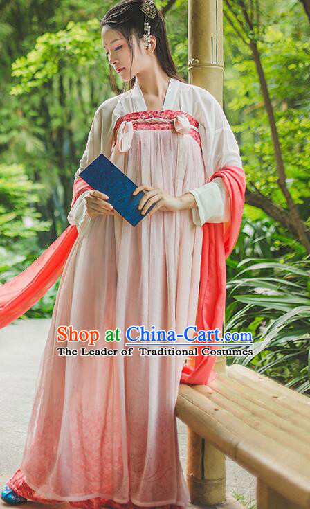 Asian Ancient Costume Chinese Tang Dynasty Clothing and Hair Accessories Clothing Complete Set for Women
