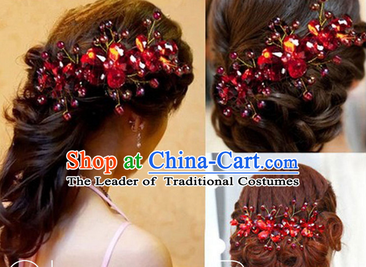 Chinese Wedding Hair Accessories Hair Jewelry Fascinators Headbands Hair Clips Bands Bridal Comb Pieces Barrettes