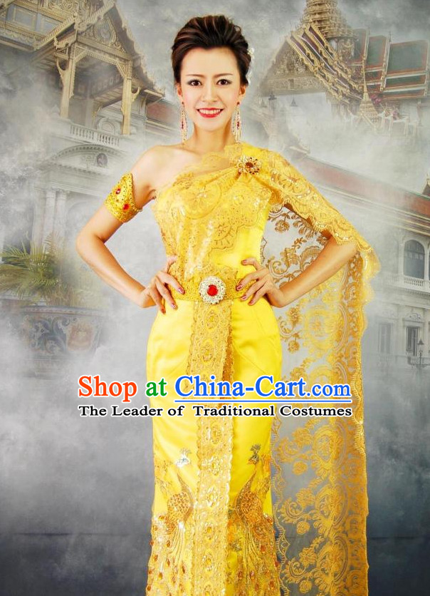 Thailand Princess National Costumes Peacock Garment Complete Set