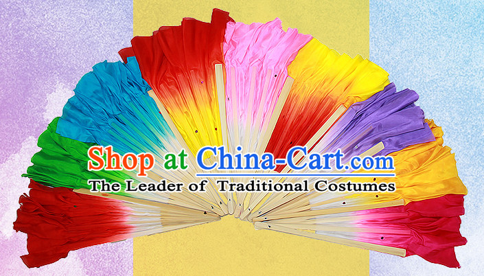 15 Inches Long Pure Silk Long Color Change Chinese Dance Belly Dance Hand Fans Hand Fan Japanese Wedding Fans Oriental Fan