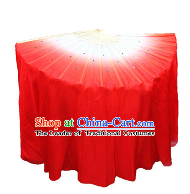 Red 31 Inches Long Pure Silk Long Color Change Chinese Dance Belly Dance Hand Fans Hand Fan Japanese Wedding Fans Oriental Fan