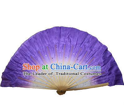 Purple 16 Inches Pure Silk Color Change Chinese Dance Belly Dance Hand Fans Hand Fan Japanese Wedding Fans Oriental Fan