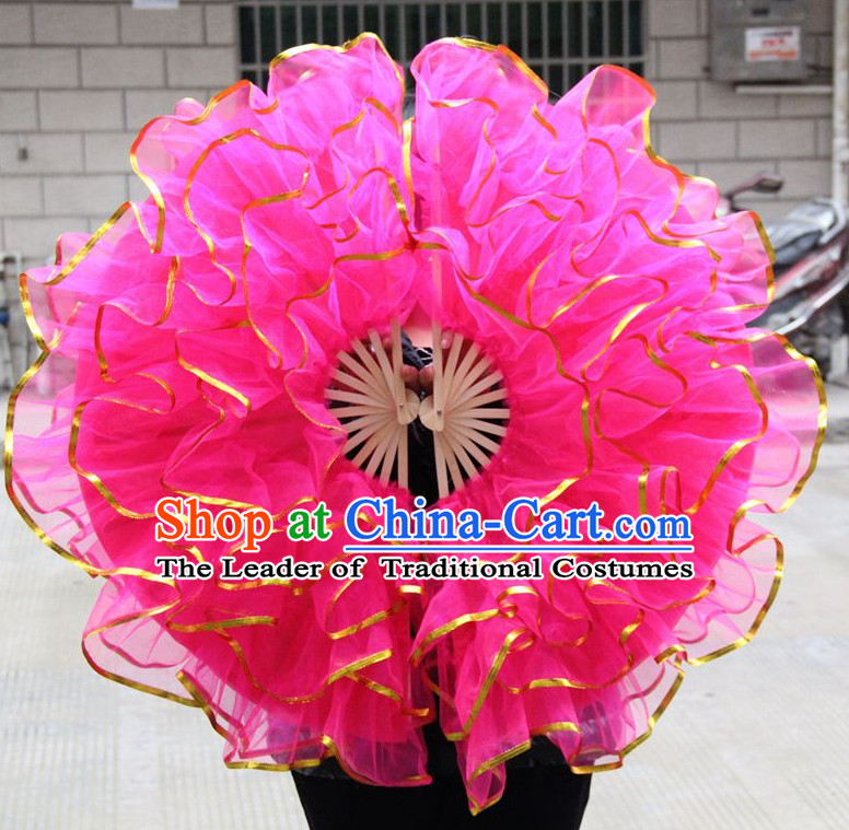 Dark Pink Chinese Korean Dancing Fan Dance Gauze Fans Belly Dance Hand Fans Hand Fan Japanese Wedding Fans Oriental Fan