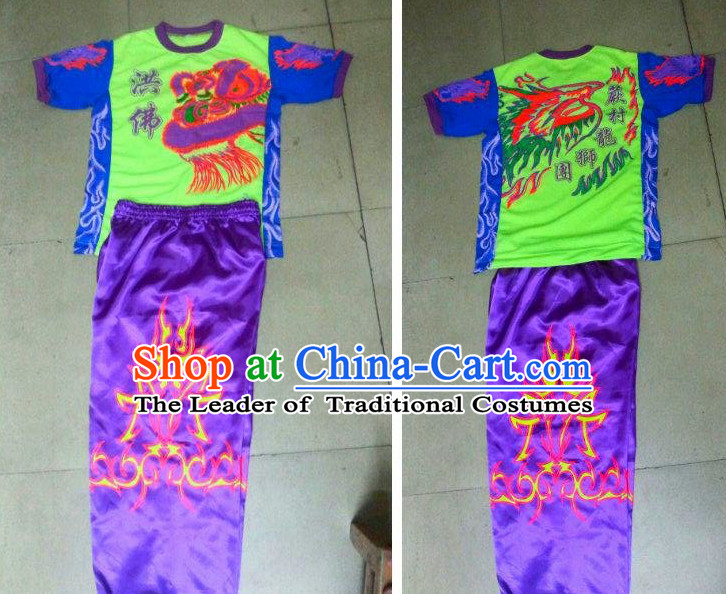 Professional Lion Dancer Uniform Costumes Dance Costume Outfits and Head Bands Complete Set for Men or Women