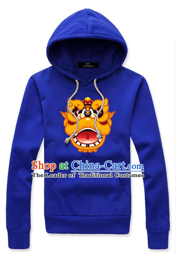 Special Design Blue Lion Dancer Dragon Dancer Hoodie Uniform Costumes Dance Costume Outfits and Head Bands Complete Set for Men or Women