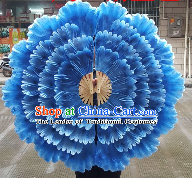 Traditional Blue Large Peony Flower Dance Hands Fan Hand Fan Stage Performance Parade Korean Japanese Chinese Fan