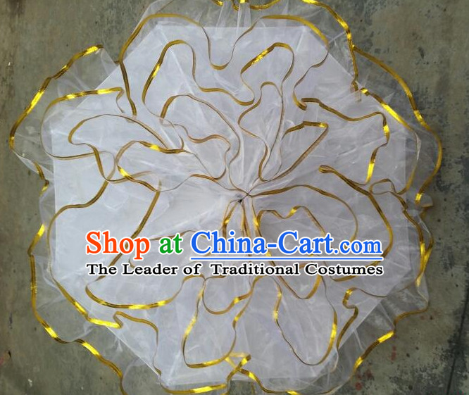 White Traditional Peony Flower Dance Umbrella Dancing Umbrellas