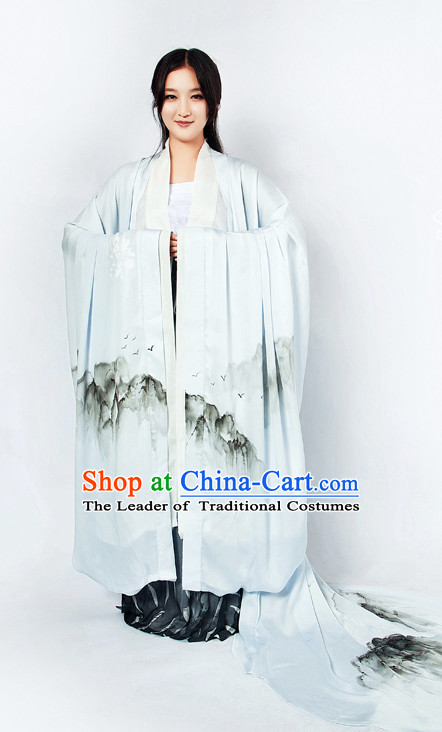 Chinese Classical Mountain Painting Han Dynasty Clothing and Hair Jewelry Complete Set for Women with Long Trail