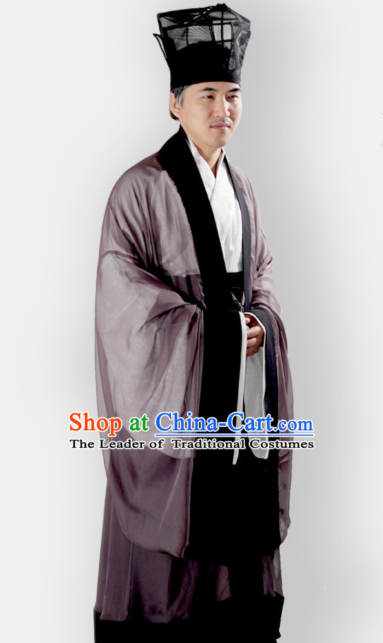 Chinese Classical Han Dynasty Clothing Complete Set for Men