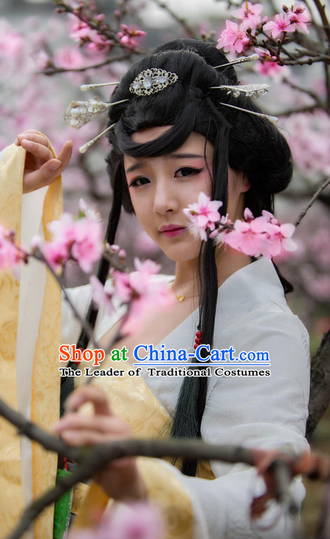 Ancient Chinese Female Wigs Toupee Wigs Human Hair Wig Hair Extensions Sisters Weave Cosplay Wigs Lace Hair Pieces and Accessories for Women