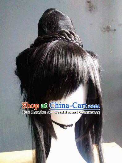 Ancient Chinese Swordsman Wigs Toupee Wigs Human Hair Wig Hair Extensions Sisters Weave Cosplay Wigs Lace Hair Pieces for Men