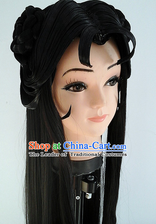 Ancient Asian Korean Japanese Chinese Style Female Wigs Toupee Wig Hair Extensions Sisters Weave Cosplay Wigs Lace for Women