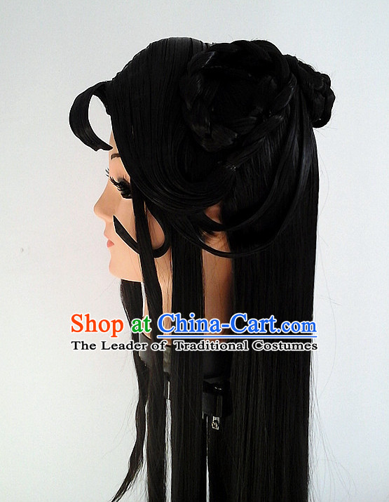 Ancient Asian Korean Japanese Chinese Style Female Wigs Toupee Wig Hair Extensions Sisters Weave