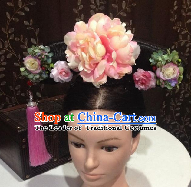 Ancient Chinese Qing Dynasty Wigs Female Wigs Toupee Wig Hair Extensions Sisters Weave Cosplay Wigs Lace and Hair Jewelry for Women