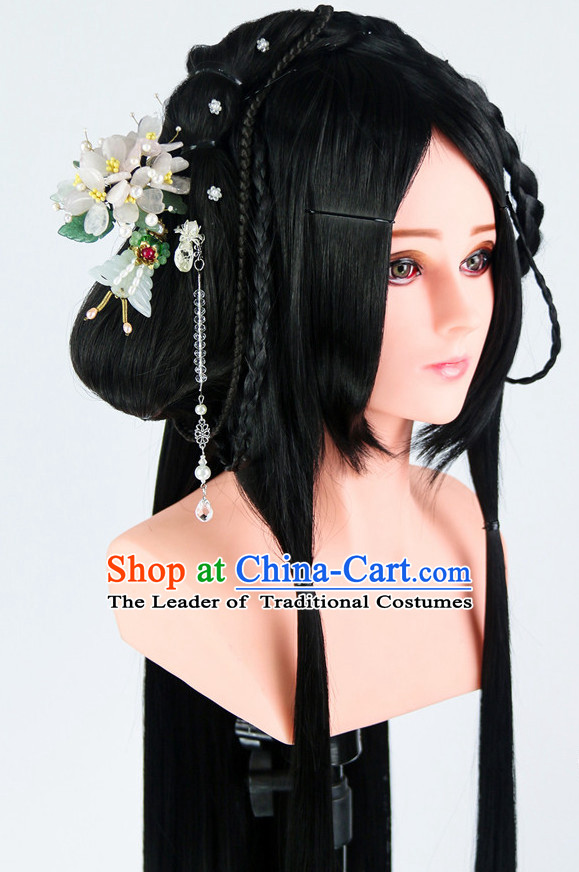 Ancient Chinese Beauty Wigs Toupee Wigs Human Hair Wigs Haircuts for Women Hair Extensions Sisters Weave Cosplay Wigs Lace Hair Pieces and Accessories for Women