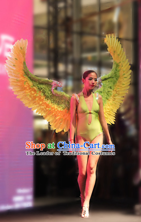 Green Yellow Angel Stage Performance Feather Wings