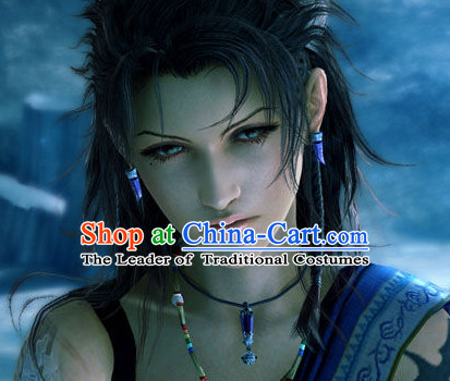 Ancient Japanese Korean Swordsman Wigs Female Wigs Toupee Wig Hair Extensions Sisters Weave Cosplay Wigs Lace and Hair Jewelry for Men