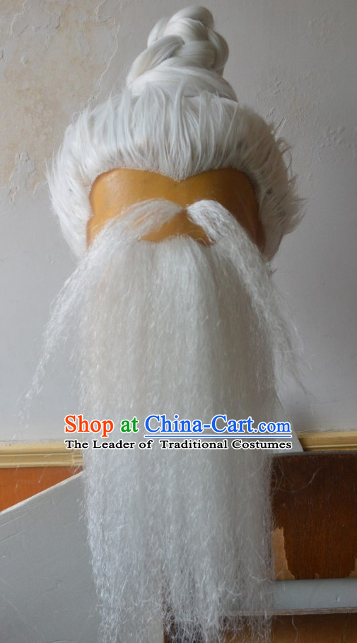 Ancient Chinese Japanese Korean Asian Old Men Long Wigs Cosplay Wig Performance Hair Extensions Real Wigs Toupee Full Lace Front Weave Pieces and Accessories for Men