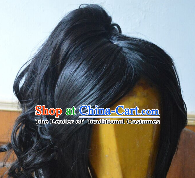 Ancient Chinese Japanese Korean Asian Superhero Long Wigs Cosplay Wig Hair Extensions Toupee Full Lace Front Weave Pieces for Men